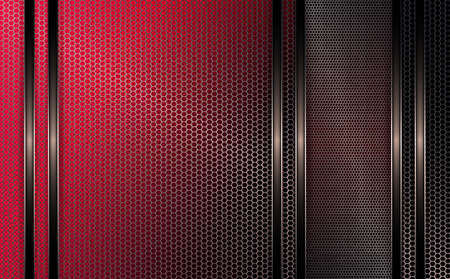 The geometric design of a pink and black shade with a metal grille.