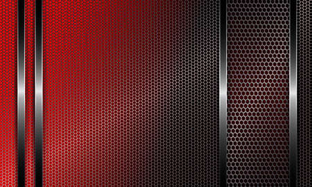 Geometric abstract design with a metal grille and frame with a rim of red shade with glitter.