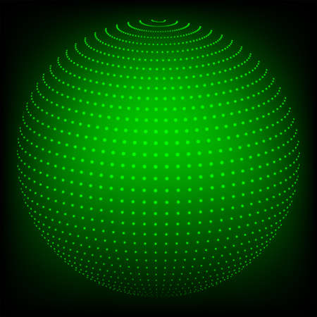 Geometric abstract background in the form of a sphere drawn from dots of a green hue. Illustration