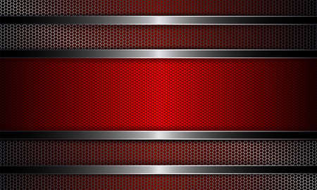 Geometric background with metal grille and rectangular red grooved frame.