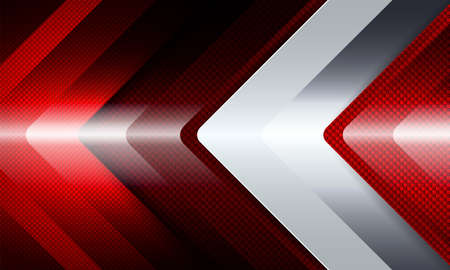 Geometric background with a set of red and white fluted arrows.