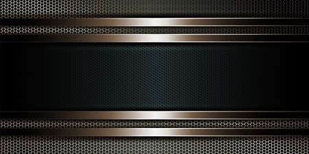 Geometric dark background as a metal grille with a rectangular frame.