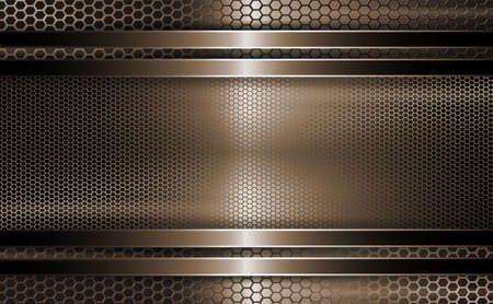 Geometric brown background as a metal grill with a rectangular frame.