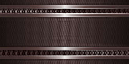 Geometric brown background with metal grill and with rectangular grooved frame.