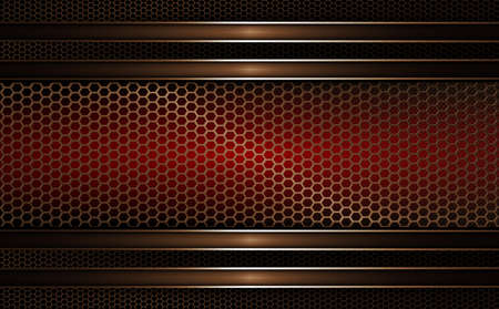 Geometric abstract mesh background with a rectangular frame of dark red, golden hue. Иллюстрация