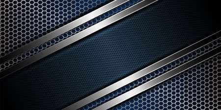 Geometric abstract blue mesh metallic background with rippled frame.