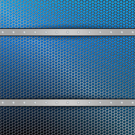 Geometric blue mesh background with stripes of metallic hue and bolts. Иллюстрация