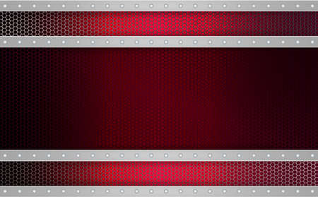 Geometric red mesh background with stripes of light metallic hue, frame.