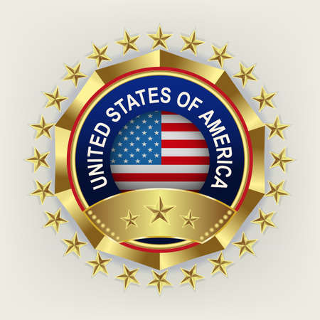 Round sign with gold stars and silhouette of a striped flag.