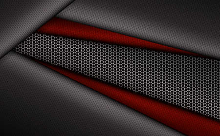 Geometric gray corrugated background with metal grille.