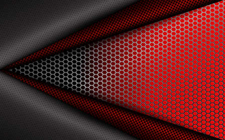 Geometric red corrugated background with metal grille. Фото со стока - 101121588