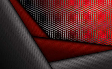 Geometric red background with metal grille.