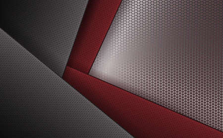 Geometric background with corrugated frames of gray and dark red hue with a metal grille. Ilustrace