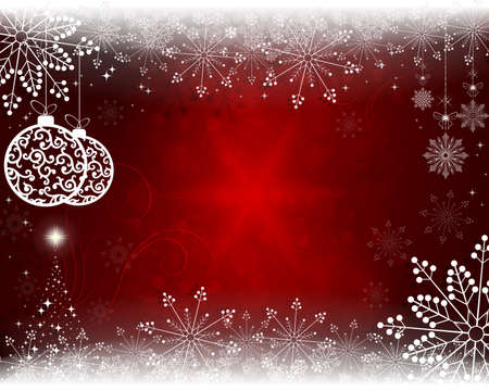 Christmas red background with christmas toys and christmas tree. Vettoriali