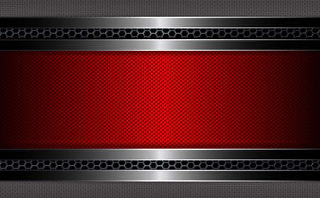 Geometric background with metal mesh with rippled red frame. Illustration