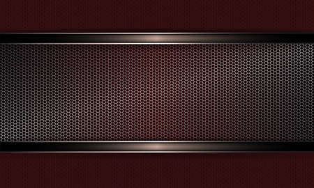 Geometric background with metal grille, frame with shiny edging.