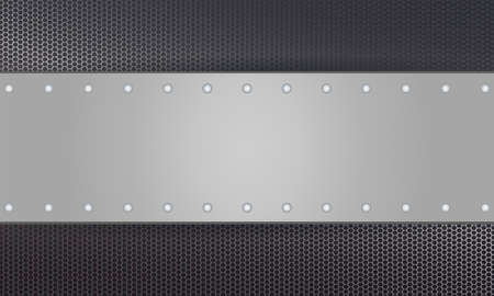 Geometric background with a rectangular frame of metallic shade and rivets.