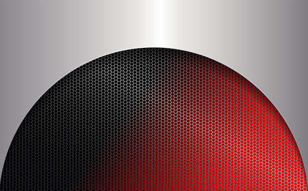 Geometric red background with a mesh frame and a metallic shade frame. Иллюстрация