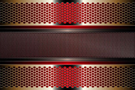 Geometric multicolored background with a frame made of metal mesh grating. 向量圖像