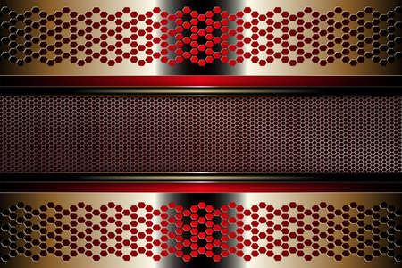 Geometric golden color background with a frame of metal mesh grating with edging.