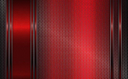 Geometric design of red, pink with a metal grille.
