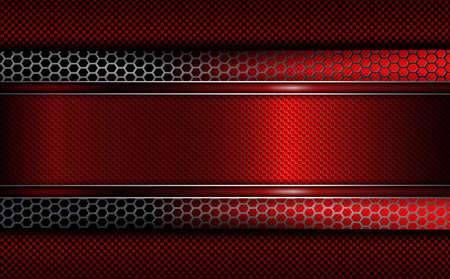 Geometric background with a red frame and metal grille.