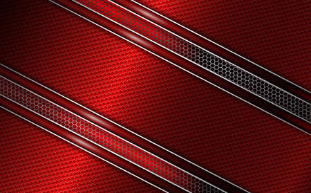 Geometric red background with metal grille and red textural frame with shiny edging.