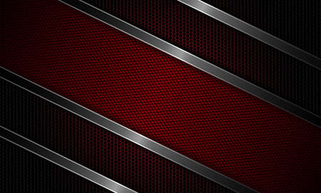 Geometric dark red design with metal grille and textural frame.