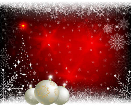 Christmas red background with balls. Ilustracja