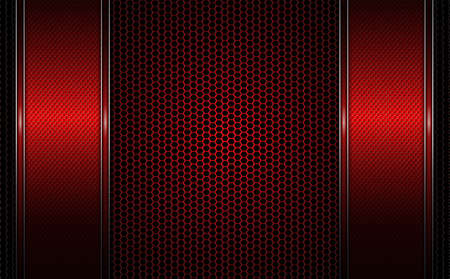 Geometric dark red background with metal grille and two textured red frames with edging. Illustration