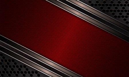 Geometric design with dark red textural frame, metal grille. Illustration
