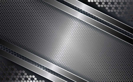 Geometric design with a frame, metal grille with a shiny edging.