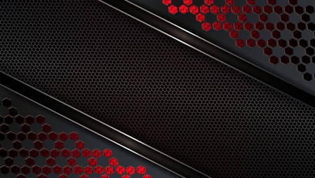 Geometric black red textural design with frame, metal grille and shiny edging.