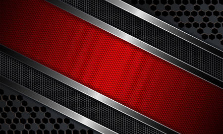 Geometric design with a red frame, metal grille and shiny edging. Illustration
