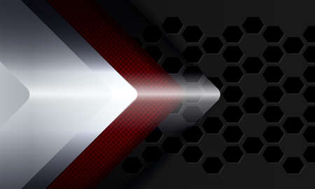 Geometric background with a silhouette of a white, transparent and red knurled arrow.