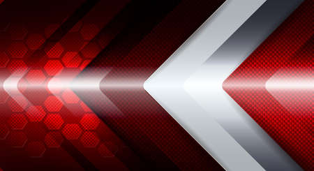 Geometric red background with a white arrow shape.