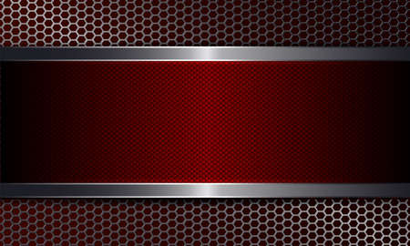 Geometric dark background with metal grille and textured frame of red color. Иллюстрация