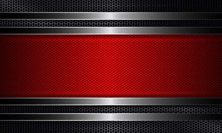 Geometric abstract design with a metal grille and a textured red frame.