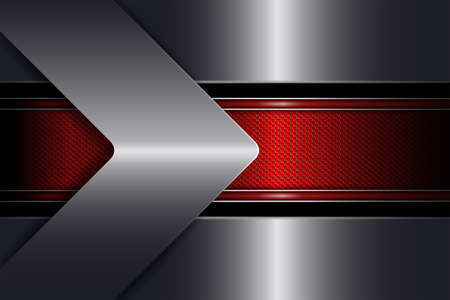 Geometric abstract texture background with a red frame and an arrow of a metallic hue.