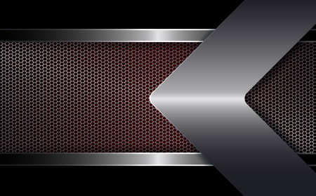 Geometrical abstract background with a metal frame with a shiny edging and with an arrow of a light metallic hue.