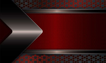 Geometric abstract design with a textured red frame with a shiny edging, with an arrow of a dark metallic hue.