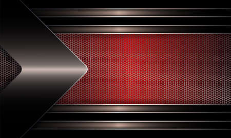 Geometric abstract design with a mesh red frame with a shiny bronze edging, with an arrow of metallic hue. Иллюстрация