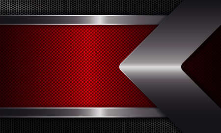 Geometric abstract background with a red frame, a shiny edging, with an arrow of metallic hue.
