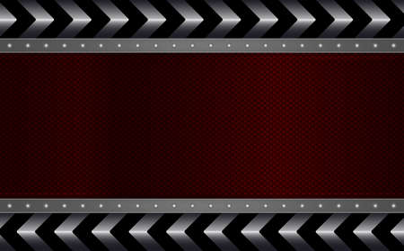 Geometric abstract design with a textured red frame, a shiny edging with rivets and an arrow of metallic hue.