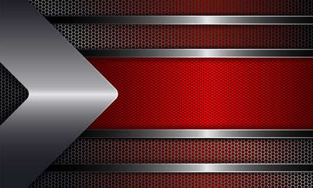 Geometric abstract design with a red frame, shiny edging, with an arrow of metallic hue. Illustration