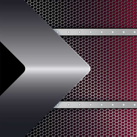 Geometric abstract black red design with metal mesh, rivets and a metallic arrow. Иллюстрация