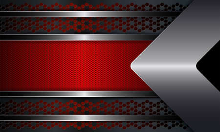 Geometric abstract design with a red textural frame with a shiny border and an arrow of metallic hue.