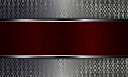 Geometric abstract red background with spots like camouflage with shiny border and metal grille.