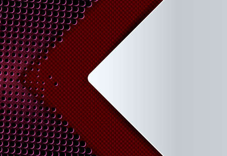 Geometric abstract design with a dark red textured arrow and a lot of small holes.
