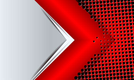 Geometric abstract background with a red arrow and a lot of small holes.